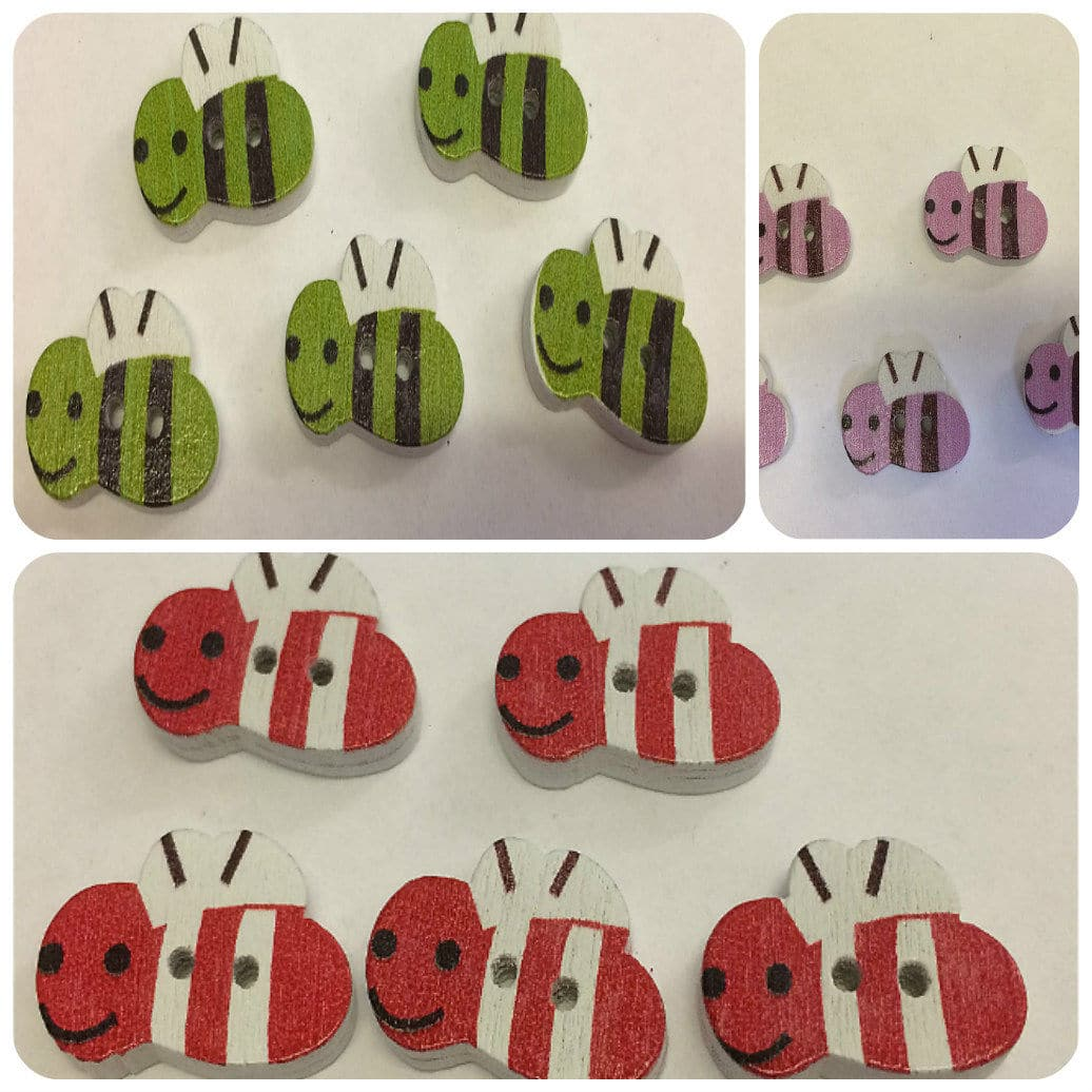 multiple colours bumble bee buttons