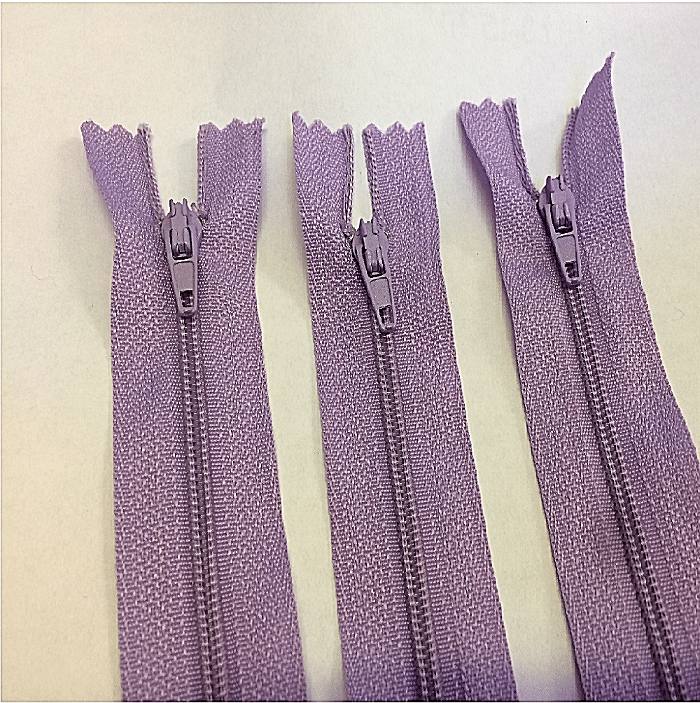 purple concealed dress zips 