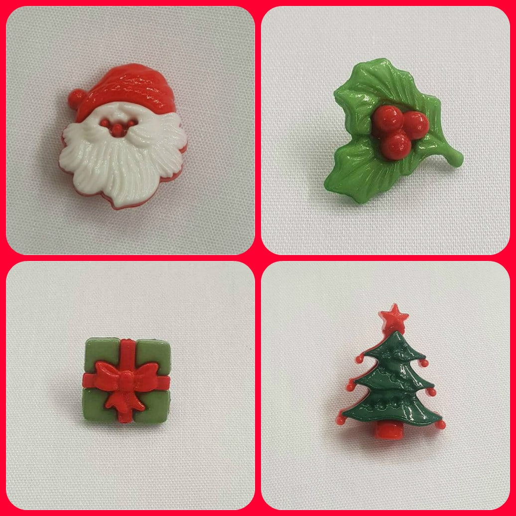 Christmas Holly Santa Tree Shaped Shank Buttons 20mm 15mm Xmas