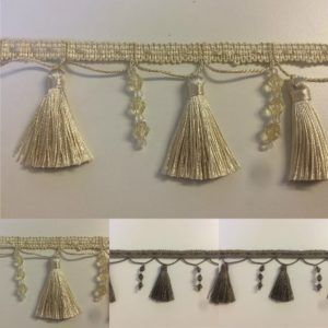 Beaded Cream Mushroom Tassel Fringe & Decorative Braid Furnishing Trimming
