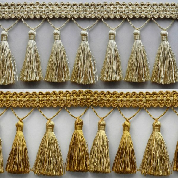 Luxury Gold Cream Tassel Fringe & Decorative Braid Furnishing Trimming