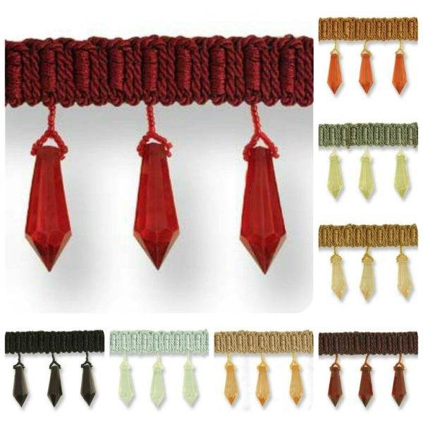 Single Faceted Hexagon Drop Bead Trim On Braid 70mm Choose From Many Colours