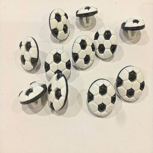 multiple black and white football buttons
