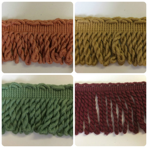 Gold, Green,Burgundy & Terracotta Twisted Bullion Fringe