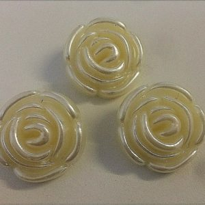 Rose Patterned Pearl Shank Buttons - 28mm