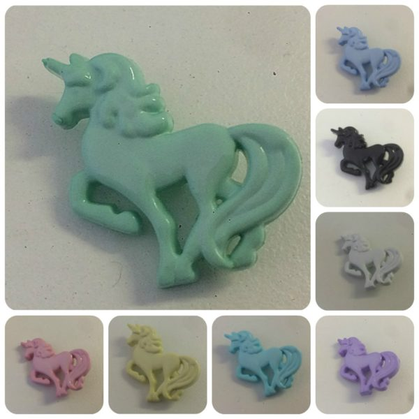 Unicorn Buttons Pink White Lilac Blue Yellow Black Wholesale Buttons