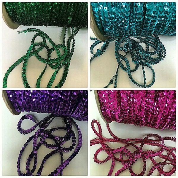 Cup Sequin 6 mm Trim All Colours & Lengths 3 & 5 metres