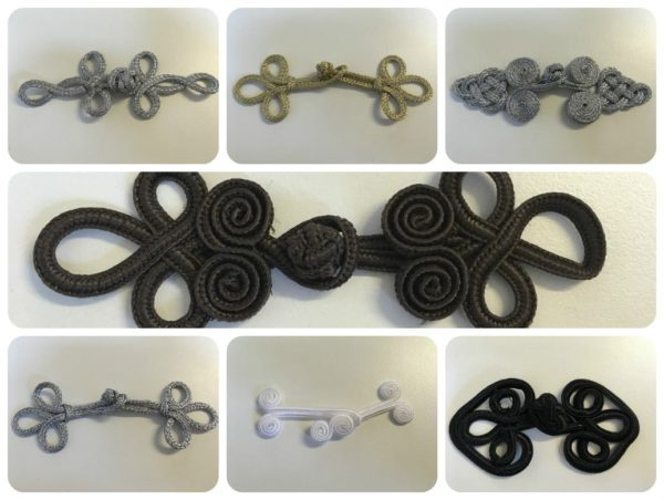 Frog Fasteners Button Knots Metallic Black & White