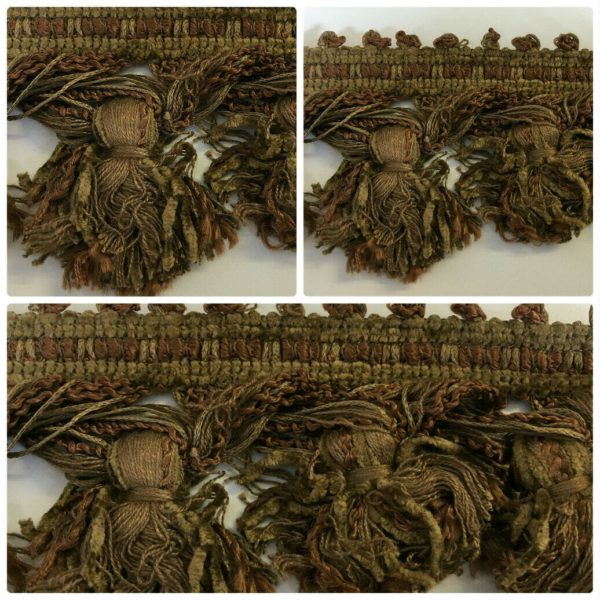 brown and green chenille tassel multiple images
