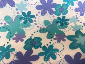 cream blue and purple flowers fabric online