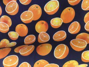 navy fabric with orange fruits dress fabric