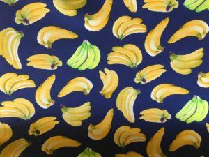 navy fabric with banana fruits dress fabric