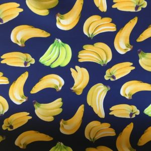 navy fabric with banana fruits dress fabric