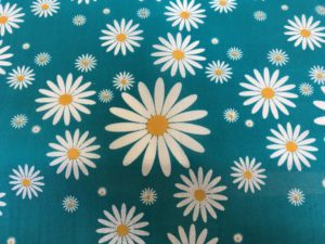blue background white daisy dress fabric