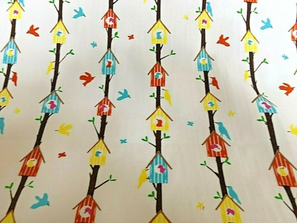 white background bird house on twigs fabric online