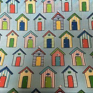 beach huts blue background dress fabric