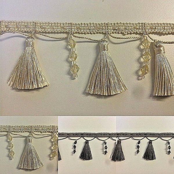 three images gold tassel trim and black tassel trim