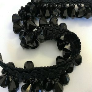 black crystal braid trim