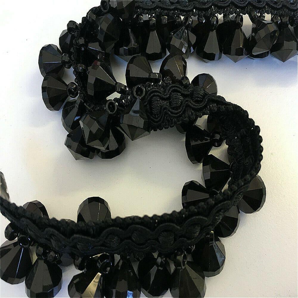 black crystal braid trim