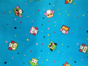 blue background owls fabric online
