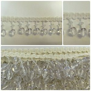cream braid trim, clear crystals