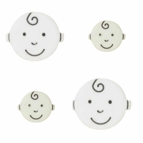 round BABY face button in white