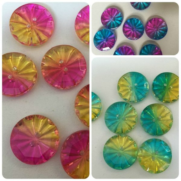 two tone multicoloured glass buttons with two holes