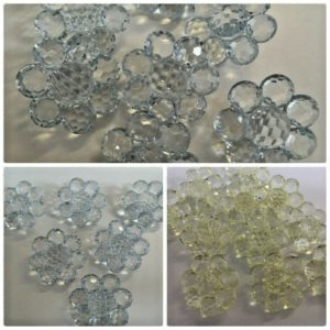 transparent glass ball buttons in a flower design