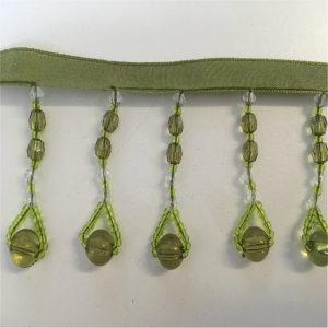 green bead braid trim,green crystals
