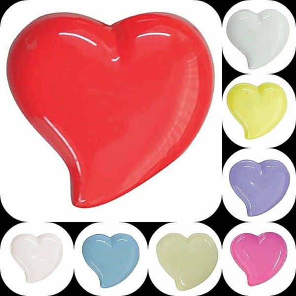 multiocoloured shiny heart shaped buttons