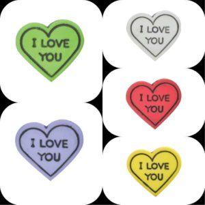 multicoloured i love you heart shaped buttons
