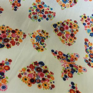 white background flower hearts and butterflies fabric