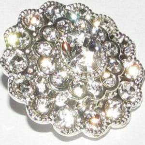 silver flower button with multiple white dimantes