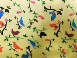 lemon background small multi coloured birds fabric online