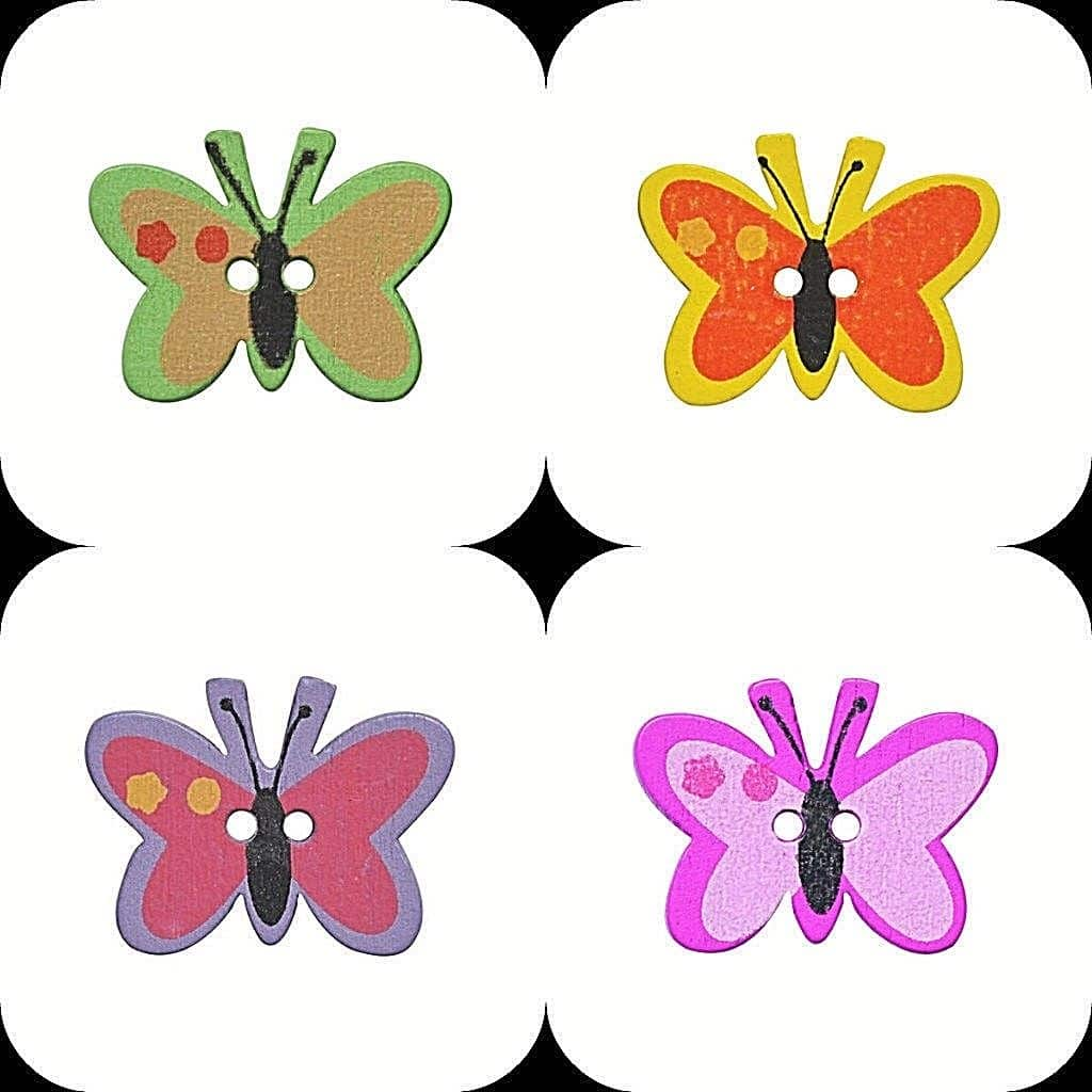 Butterfly Fine Style Wooden Buttons All Colours