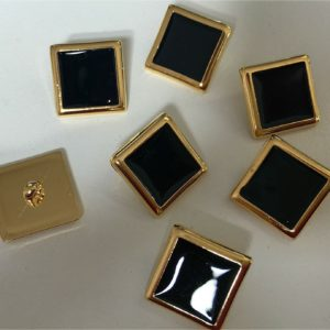 Black & Gold Shank Buttons 18 mm