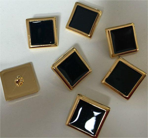 Black & Gold Shank Buttons 18 mm