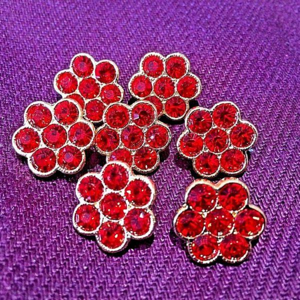 red flower shape dimante button