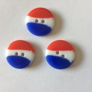 Red White & Blue Fine Style Buttons Size 20mm