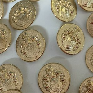 Brass Coats Of Arms Shield Shank Buttons 22.9 mm
