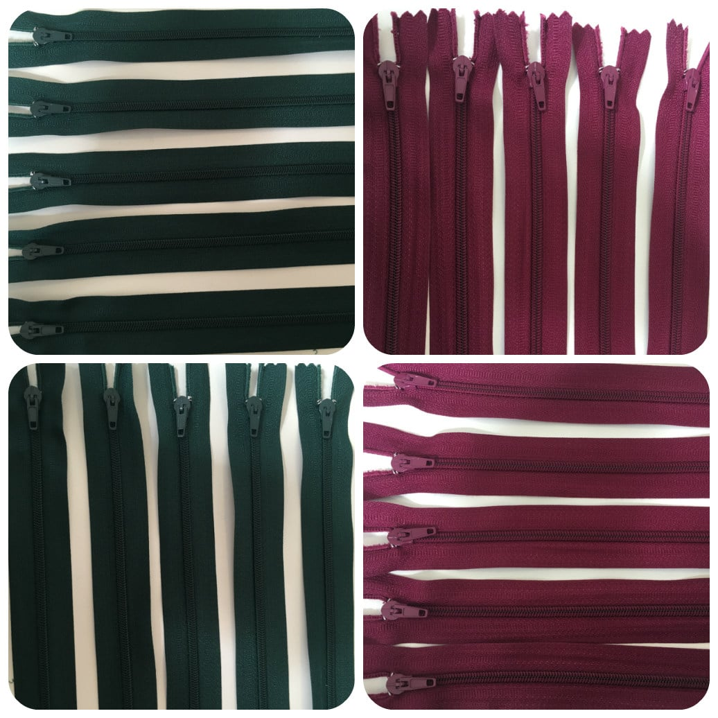 Closed End Zip Wine Burgundy & Forest Green 30cm Pin Lock Zips 100 For £6.99