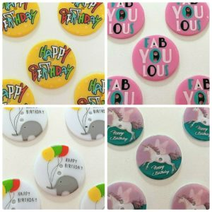 Happy Birthday Collection Large Round Shaped 2 Hole Buttons 40mm