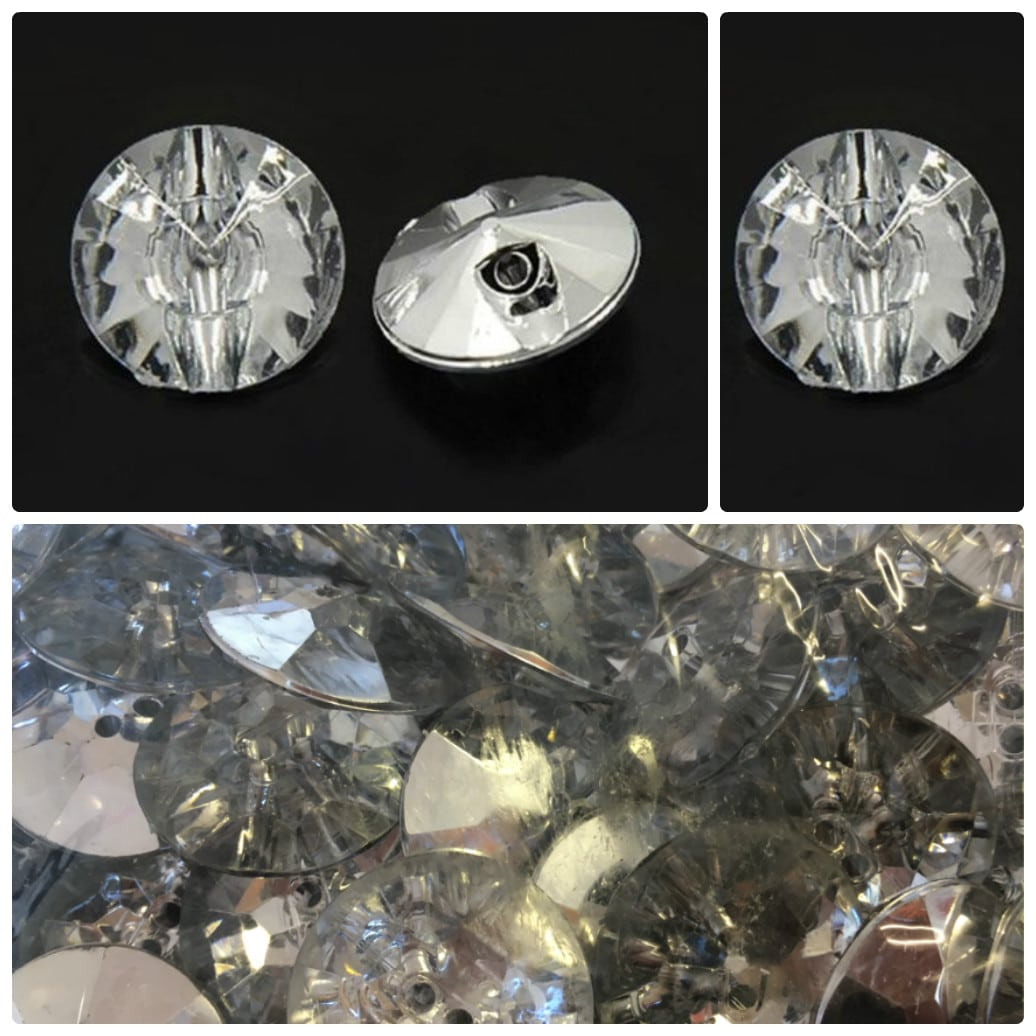 Crystal Sparkly Acrylic Round Buttons Wholesale Packs