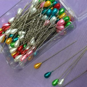 NOVA 144 x 65mm Extra Long Dressmaking Craft Pearl Headed Pins - Assorted Colours