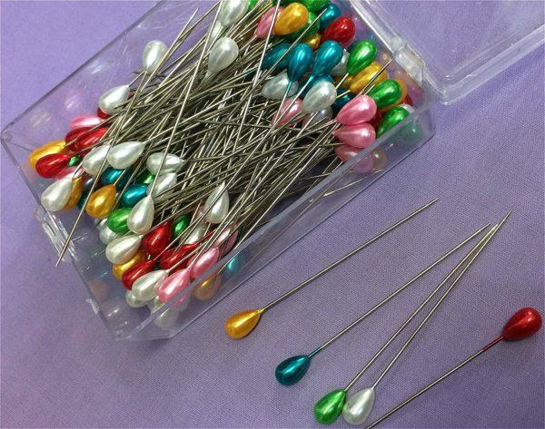 NOVA 144 x 65mm Extra Long Dressmaking Craft Pearl Headed Pins - Assorted Colours