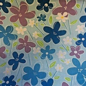 blue flowers cotton dress fabric