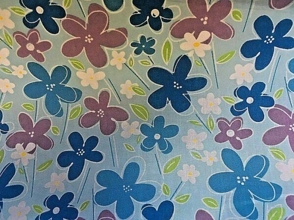 blue flowers cotton dress fabric