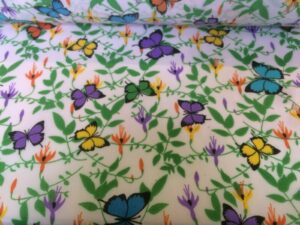 Mauve, Turquoise , Yellow Butterfly Floral cotton dress fabric
