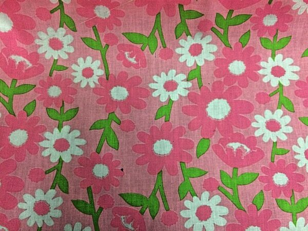 Floral pink cotton dress fabric