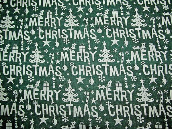 Green Merry Christmas cotton dress fabric
